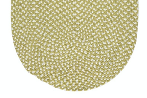 Fresh apple green and white oval eco braided rug, homewares at Source for the Goose, South Molton, Devon