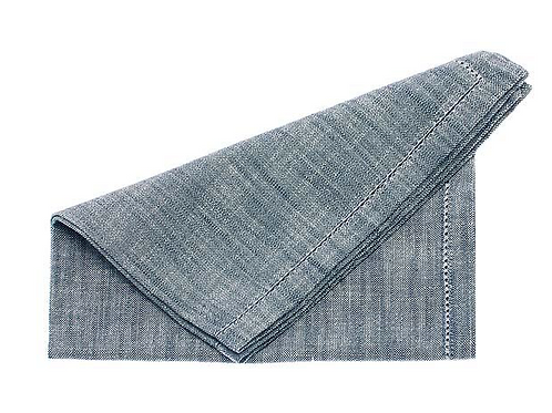 Set of Four Flint Blue Chambray Napkins by Waltons of Yorkshire