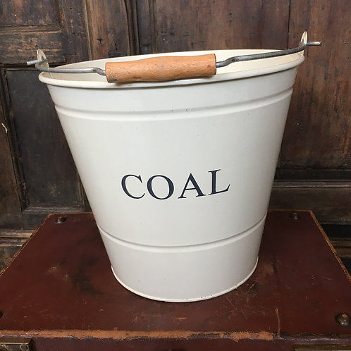 Cream Coal Bucket with white writing, country style interiors at Source for the Goose, Devon