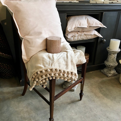 Soft cashmere touch throw in neutral linen, interiors at Source for the Goose