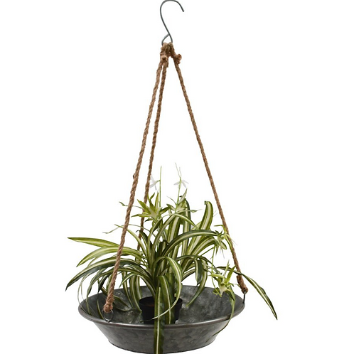 Zinc Rope Hanging Planter Tray, botanical interiors at Source for the Goose, devon