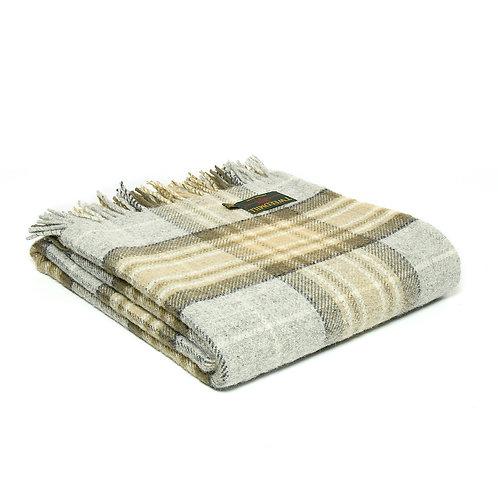 Tweedmill tartan Makelaar wool blanket, greys and oatmeal throw at Source for the Goose , Devon