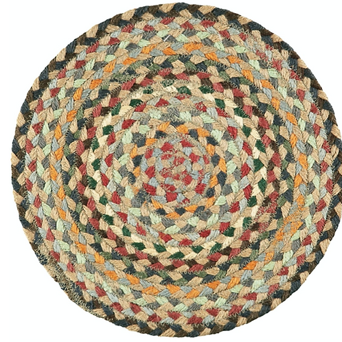 Misty Blue set of six braided jute placemats in a basket, homewares with colourful design and practicality