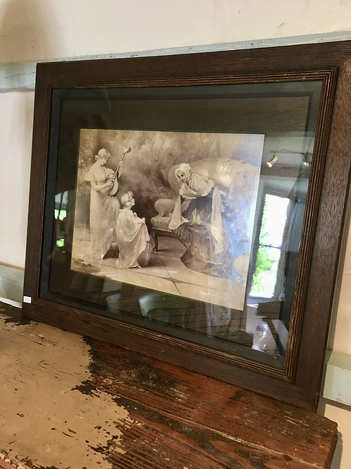 Charming Sepia Portrait of Mother and Daughters in Dark Wood Frame at Source for the Goose