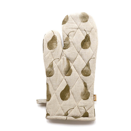 Recycled cotton Oven Glove with Olive Green Pear Design, interiors at Source for the Goose, South Molton, Devon