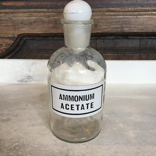 Vintage apothecary ammonium acetate clear glass bottle, interiors at Source for the Goose, South Molton, Devon