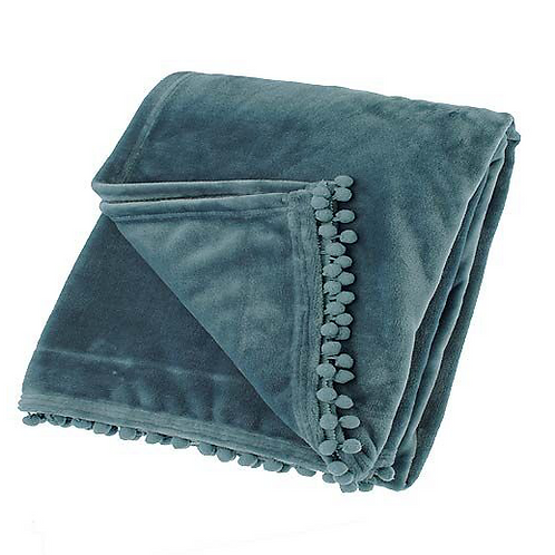 Waltons of Yorkshire Cashmere Touch Throw in Mineral Blue
