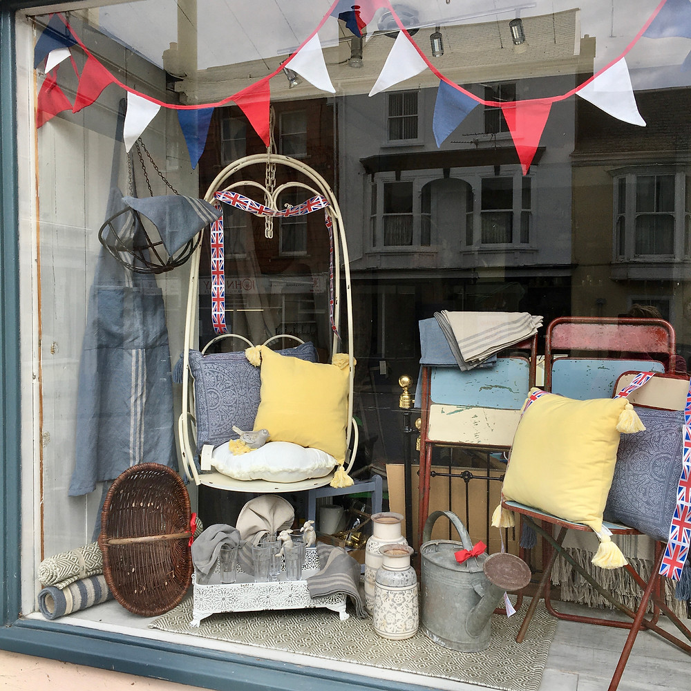 Shop Window display at Source for the Goose, secondhand furniture and interiors