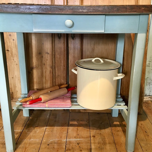 Kitchen Island or Butchers Block painted in Annie Sloan Svenska Blue Chalk Paint at Source for the Goose