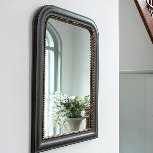 Black with Gold Rim Wall Mirror, interiors at Source for the Goose