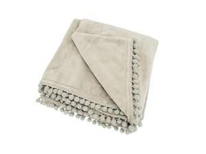 Linen colour soft throw with pom poms, to buy in Devon