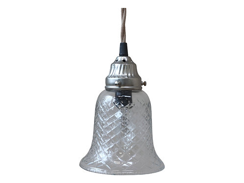 Handmade Etched Bell Shaped Glass Lamp