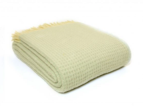 Tweedmill Waffle Frost Pure New Wool Blanket, cosy interiors at Source for the Goose, Devon