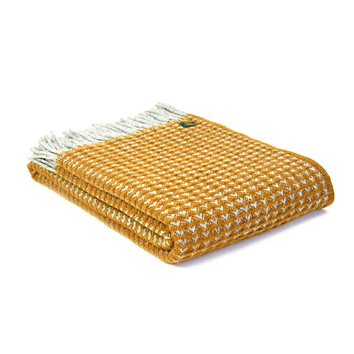 Tweedmill Mustard Yellow Treetop design blanket, higgle interiors at Source for the Goose, South Molton, Devon