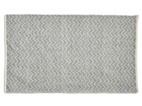 Dove Grey Chenille Rug from Weaver Green with a soft zig zag stripe to buy at Source for the Goose, Devon
