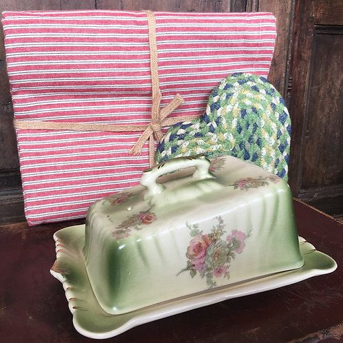 Pretty French Floral Cheese Dish with green and porcelain colour glaze, vintage unique interiors at Source for the Goose