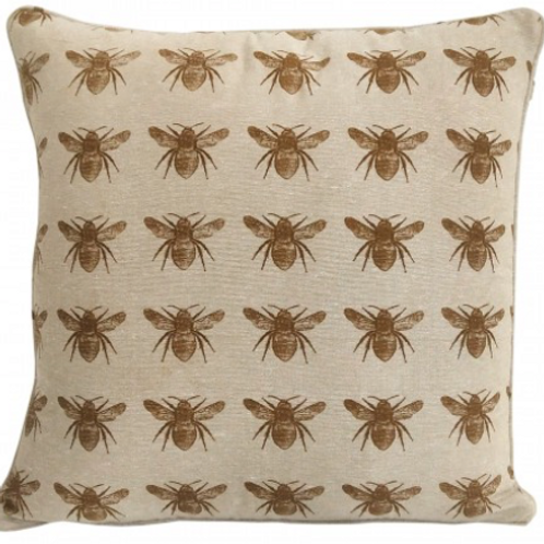 Bee design cushion, mustard yellow design on natural background at Source for the Goose