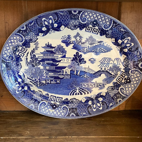 Blue and White Transferware Meat Platter, vintage homewares at Source for the Goose, Devon