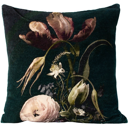 Dark Green Velvet Cushion with Vintage Flowers, unique interiors at Source for the Goose, Devon