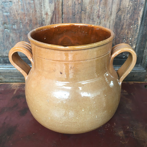 Rustic Two Handled Urn with brown glaze, vintage interiors at Source for the Goose, Devon