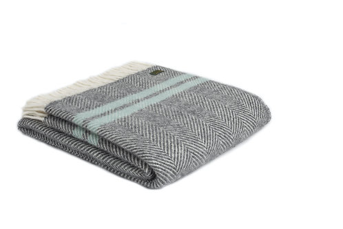 Tweedmill Fishbone Slate Blue and Ocean  Wool Blanket, cosy homewares at Source for the Goose, South Molton, Devon