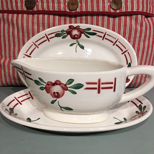 Vintage French Sarreguemines Floral Gravy Boat and Two Dishes, French rustic homewares at Source for the Goose, Devon