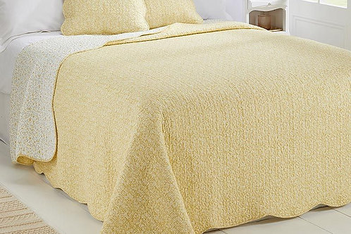 Sunny Ochre and Porcelain quilted bedspread, vintage styling at Source for the Goose