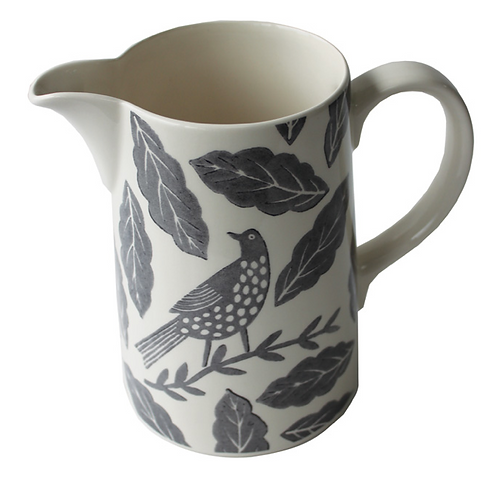 Songbird Grey Jug with birds and leaves design, homewares at Source for the Goose, Devon