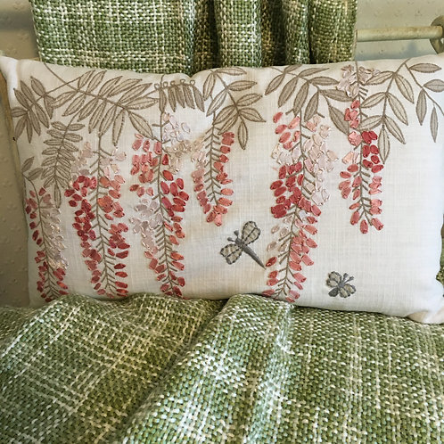 Delicate Pink Embroidered Wisteria Cushion