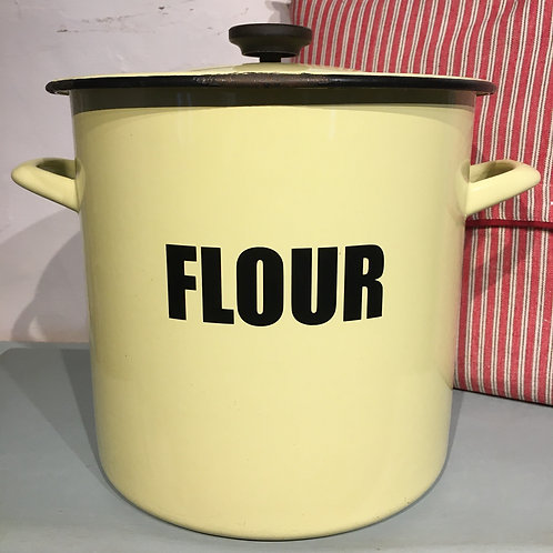 Retro Yellow Enamel Flour Bin with black writing and handle, vintage homewares at Source for the Goose, Devon