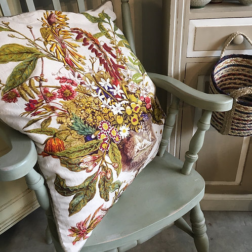 Extra large cushion with autumn themed botanical design and crewelwork detail, unique interiors at Source for the Goose