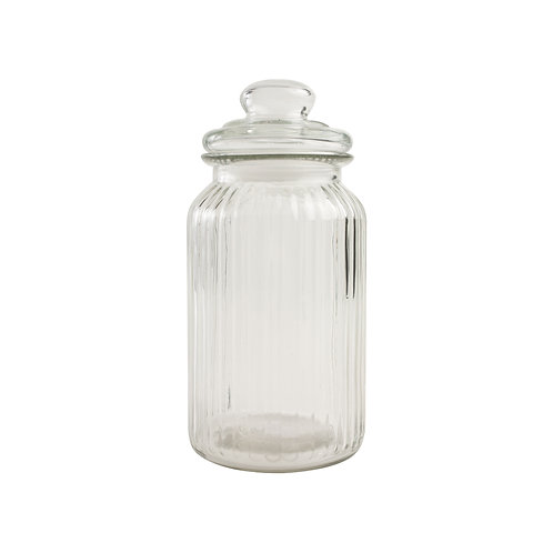 Tall Ribbed Glass Jar with Lid, homewares and interiors at Source for the Goose, Devon