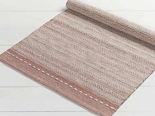 Small Blush Pink Diamond Weave Stripe Recycled Plastic Rug, interiors at Source for the Goose, Devon