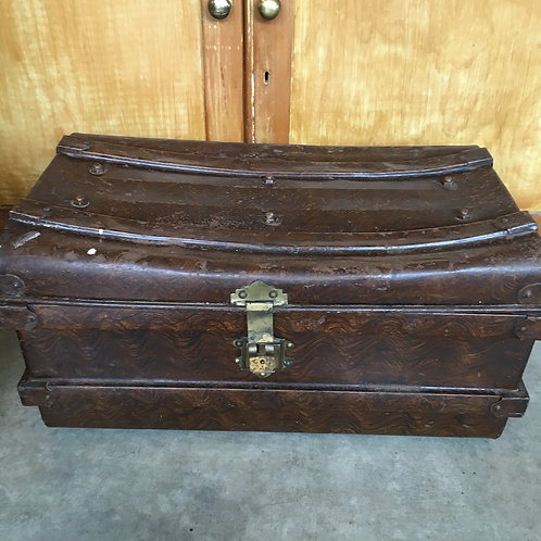Vintage metal trunk with lovely patina, secondhand interiors at Source for the Goose