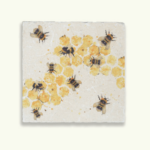 Kate of Kensington Bees Marble Trivet, vintage look interiors at Source for the Goose