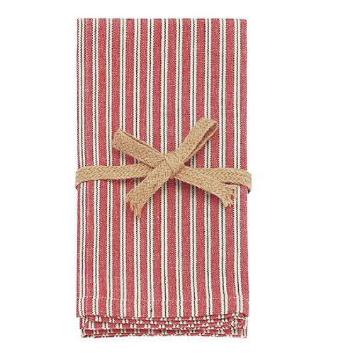Set of Four County Ticking Cotton Napkins in Dorset Red by Waltons of Yorkshire, homewares at Source for the Goose, Devon
