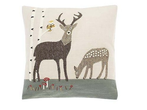 Appliqued Tweed Stag and Fawn square cushion, rustic interiors at Source for the Goose,Devon
