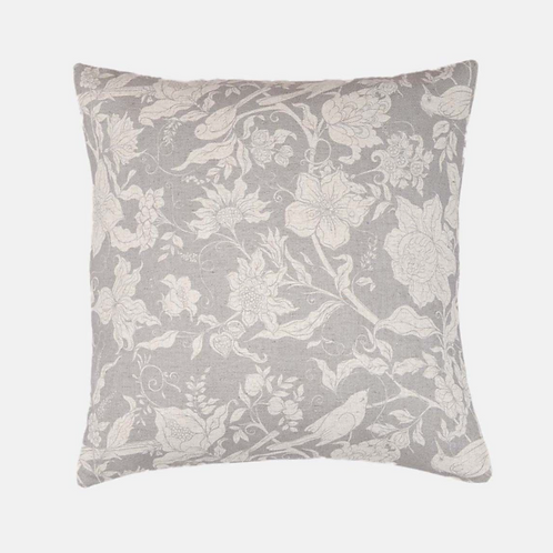 Flowers and Birds Cushion in Grey, Biggie Best homewares at Source for the Goose, South Molton