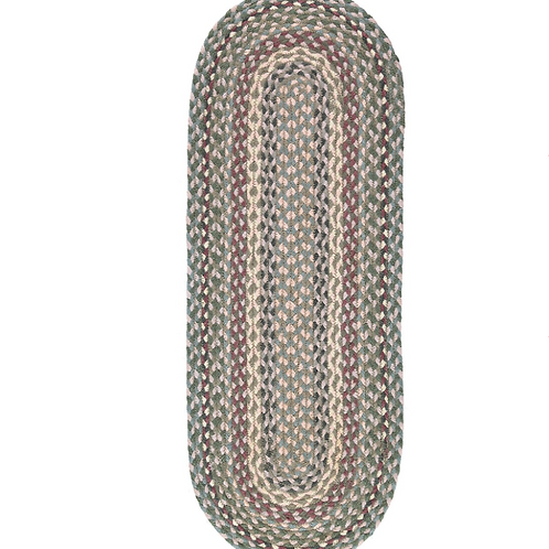 Jute Table Runner in Tundra, a pink, grey and green design, The Braided Rug homewares at Source for the Goose, Devon