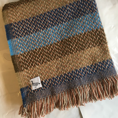 Tweedmill Recycled Wool Teal Blue Stripe Mix Wool Blanket, british made homewares at Source for the Goose, Devon