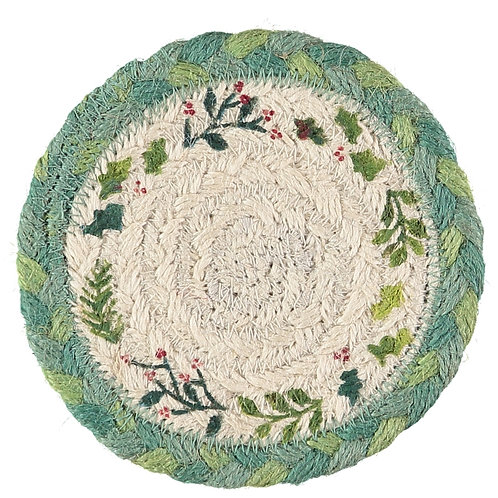 Christmas Design Set of Six Coasters by the Braided Rug Company