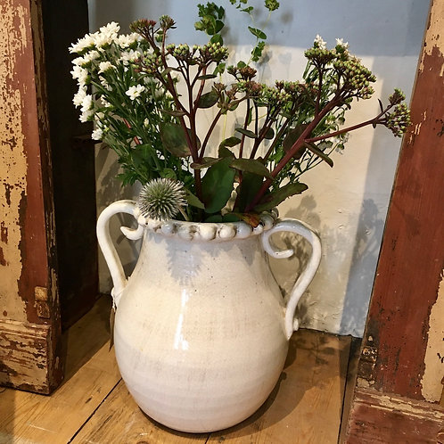 Cream double handled vase with a slightly distressed glaze, French style interiors at Source for the Goose