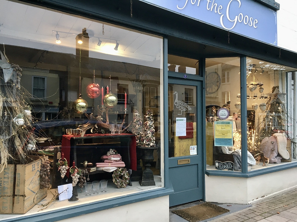 Interiors and lifestyle shop, Source for the Goose showcasing its Christmas window display in South Molton, Devon