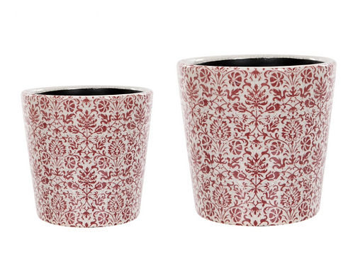 Small Vintage Floral Design in Red Plant Pot