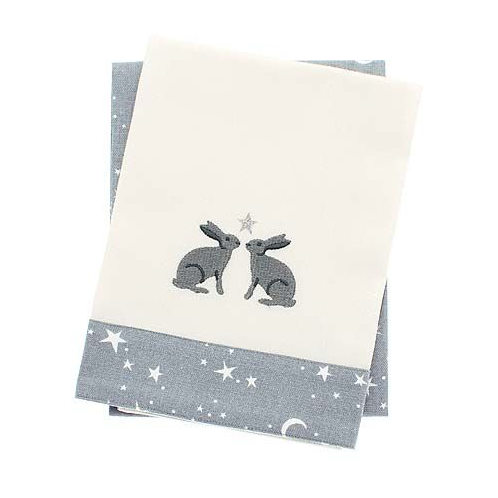 Twilight Hare Teatowel Set, two teatowels with a hare design and stars and crescent moon, Christmas homewares