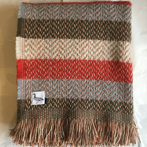 Tweedmill Recycled Wool Red Stripe Blanket, british made homewares at Source for the Goose, Devon