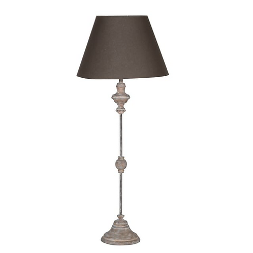 Distressed Finish Tall Stem  Lamp with Dark Cotton Shade, interiors from Coach House at Source for the Goose , Devon