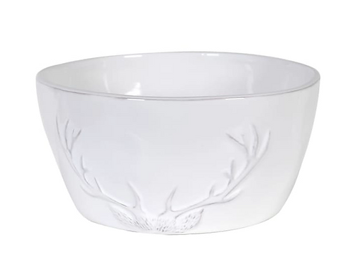 Large White Bowl  with Rustic Antler Design, country style homewares at Source for the Goose, Devon