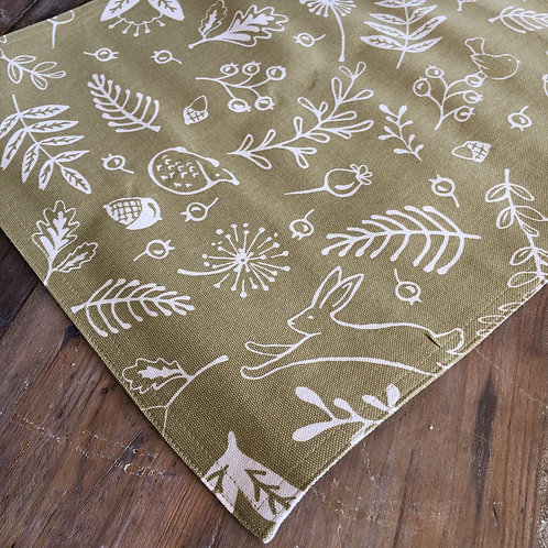 Set of two saffron green placemats in Hedgerow design at Source for the Goose