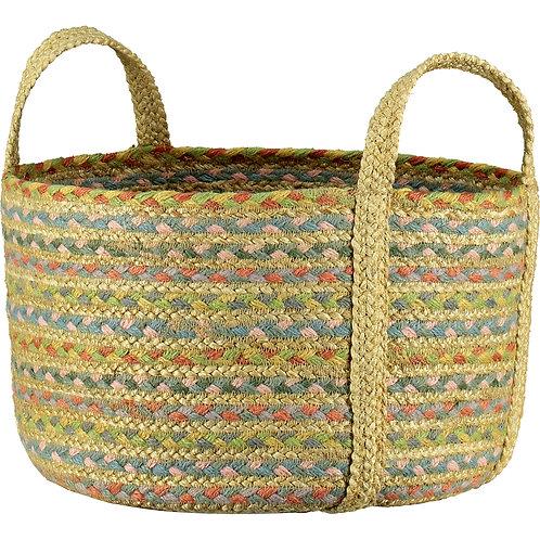 The Pastel Fairisle Organic Jute Basket, Braided Rug Homewares at Source for the Goose, Devon